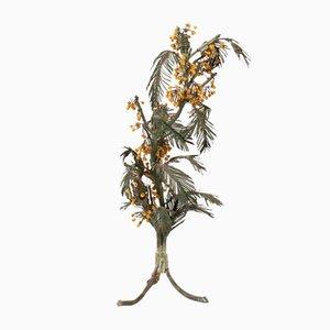 Antike französische Mimosa Tischlampe aus Glas & Metall