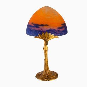 Antike französische Tischlampe aus Bronze & Glas von Geo Printemps et Muller Frères