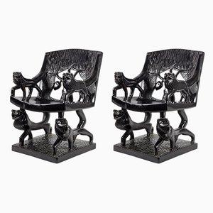 Vintage Art Déco Armlehnstühle aus geschnitztem Holz, 1920er, 2er Set