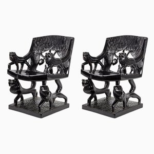 Vintage Art Deco Carved Wood Armchairs, 1920s, Set of 2