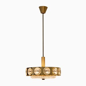 Brass and Glass Hanging Light, 1970s