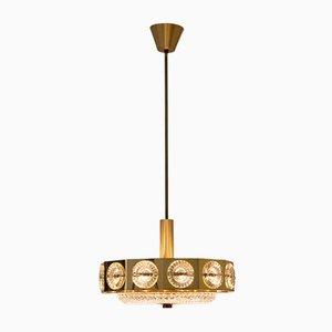 Lampe à Suspension en Laiton et Verre, 1970s