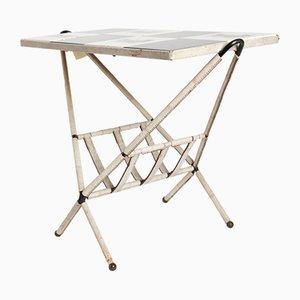Französischer Mid-Century Spieltisch aus Eisen & Leder, 1950er