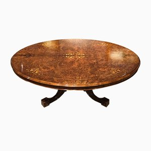 Large Antique Victorian Burl Walnut Oval Coffee Table