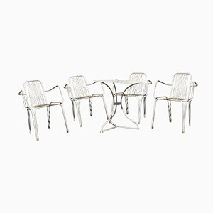Wrought Iron Garden Table & 4 Chairs Set, 1960s
