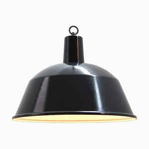 Mid-Century Industrial Charcoal Enamel Factory Ceiling Lamp, 1950s