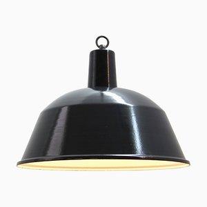 Schwarz emaillierte industrielle Mid-Century Deckenlampe, 1950er