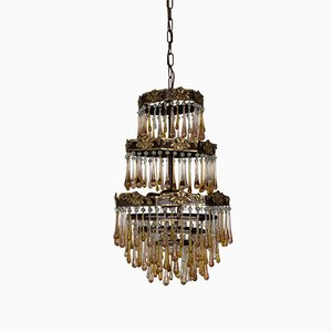 French Peach and Amber Glass & Brass Waterfall Chandelier, 1920s