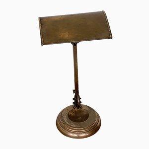 Vintage Bankerlampe aus dunklem Messing