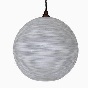 Vintage White Textured Globe Pendant Lamp
