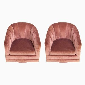 Mid-Century Pink Barrel Swivel Club Chairs from Alexvale Furniture Co., 1970s, Set of 2