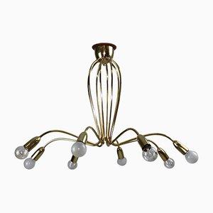 Lámpara de araña de latón de Rupert Nikoll, años 50