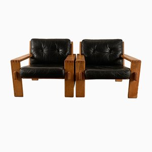 Leather and Wood Bonanza Armchairs by Esko Pajamies for Asko, 1960s, Set of 2