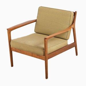 Moderner USA-75 Armlehnstuhl mit Stoffpolster & Gestell aus Teak von Folke Ohlsson für Dux, 1950er