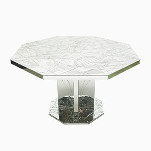 Modernist French Mirror Mosaic Dining Table, 1980s