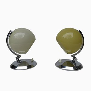 Art Deco Brass and Hand-Blown Glass Table Lamps, 1930s, Set of 2
