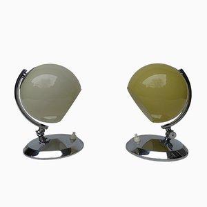 Lámparas de mesa Art Déco de latón y vidrio soplado, años 30. Juego de 2