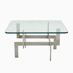 Mesa de centro francesa de vidrio y acero cepillado de Paul Legeard, años 70