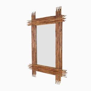 Großer abgeschrägter Vintage Spiegel mit Rahmen aus Bambus