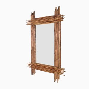 Large Vintage Beveled Bamboo Mirror