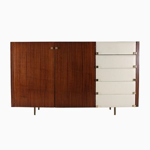 French Brass, Leatherette, and Rosewood Highboard by Roger Landault for regy, 1960s