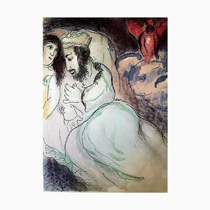 Sarah and Abimelech Lithograph by Marc Chagall, 1960s