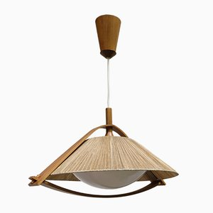 German Teak and Plexiglas Ceiling Lamp from Temde, 1960s