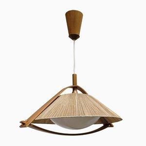 Lámpara de techo alemana de teca y plexiglás de Temde, años 60