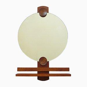Espejo de pared vintage de madera con estante, años 70