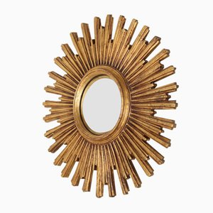 Large Mid-Century Golden Sun Convex Mirror from Deknudt, 1960s