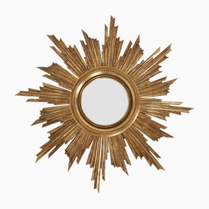 Large Mid-Century Gilt Convex Mirror, 1960s