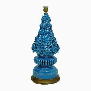 Lampada da tavolo Mid-Century in ceramica blu, anni '50