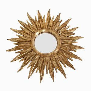 Mid-Century Golden Sun Convex Mirror from Deknudt, 1960s