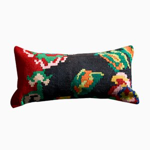 Black, Green, Red & Pink Lumbar Kilim Pillow Cover by Zencef Contemporary