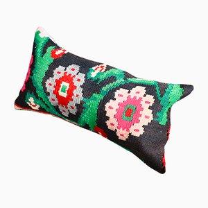 Kelim Kissenbezüge aus Wolle & Baumwolle mit floralem Muster in Schwarz, Grün & Rosa von Zencef Contemporary, 2er Set