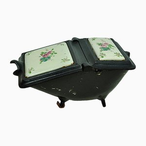 Vintage Cast Iron Coal Scuttle with Floral Motifs