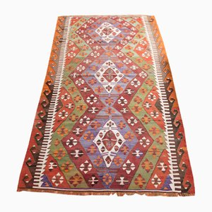 Vintage Turkish Multi-Colored Wool Anatolian Kilim Rug, 1950s
