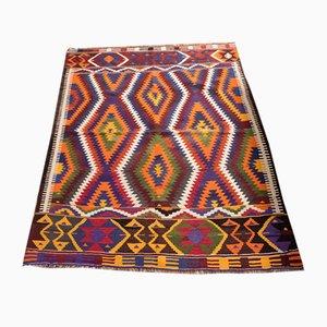 Alfombra Yuruk Kilim turca vintage de lana multicolor, años 60