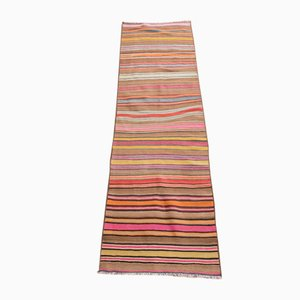 Vintage Turkish Multi-Colored Wool Fethiye Bantası Striped Kilim Runner, 1980s
