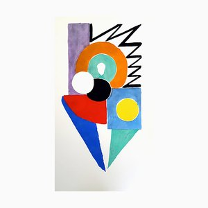 Living Painting Colour Pochoir Print by Sonia Delaunay, 1969