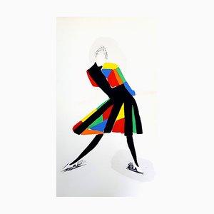 Affiche Living Pochoir Colorée par Sonia Delaunay, 1969