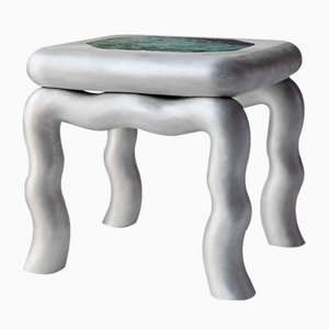Chrome Diopside, Cast Aluminum & 24-Karat Gold Leaf Emerald Stool or Side Table by Lincoln Kayiwa for KAYIWA, 2019