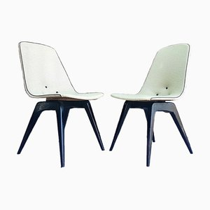 Mid-Century Plywood and Vinyl Dining Chairs by van Os, 1950s, Set of 2