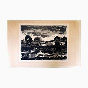 Gravure à l'Eau-Forte L'Oise à Cergy par Maurice de Vlaminck, 1924