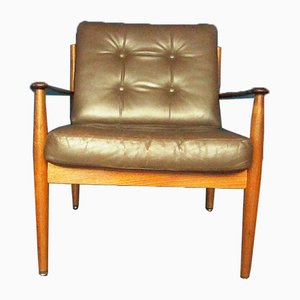 Teak & Leather Armchair by Grete Jalk for France & Søn