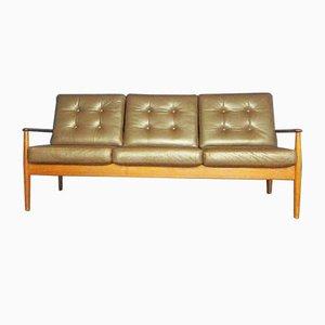 Dänisches Mid-Century Sofa mit Lederpolstern & Gestell aus Teak von Grete Jalk für France & Søn