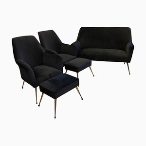 Mid-Century Italian Black Velvet and Brass Living Room Set, 1950s
