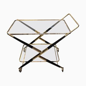 Mid-Century Wood & Brass Bar Cart by Cesare Lacca, 1950s