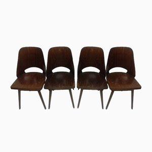Buchenholz Esszimmerstühle von Thonet, 1960er, 4er Set