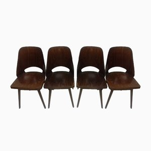 Esszimmerstühle aus Buche von Thonet, 1960er, 4er Set